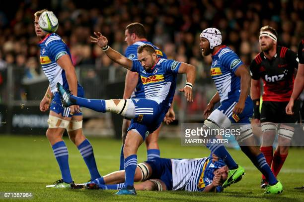 Dewaldt Duvenage of the Western Stormers kicks the ball from a ruck during the Super Rugby match between New Zealand's Canterbury Crusaders and South...