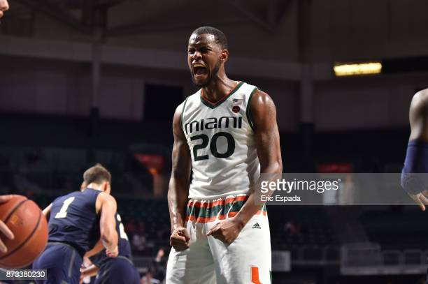 Dewan Huell of the Miami Hurricanes reacts to a play during the second half against the Miami Hurricanes at The Watsco Center on November 12 2017 in...