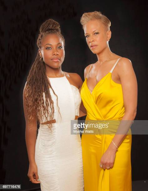 Dewanda Wise and Tonya Lewis Lee Poses for a Portrait on Day 3 of the American Black Film Festival on June 14 2017 in Miami Florida <<enter caption...