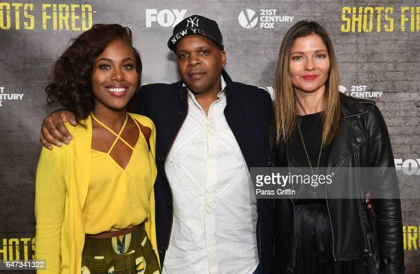 DeWanda Wise Reggie Bythewood and Jill Hennessy attend 'Shots Fired' Atlanta screening at National Center for Civil and Human Rights on March 2 2017...