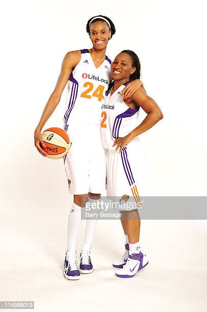 DeWanna Bonner and Temeka Johnson of the Phoenix Mercury poses for photos during Phoenix Mercury Media Day on May 23 2011 at US Airways Center in...