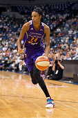DeWanna Bonner of the Phoenix Mercury dribbles the ball against the Minnesota Lynx during Game One of the WNBA Western Conference Finals on September...