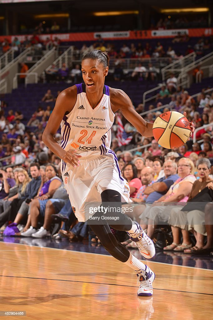 <a gi-track='captionPersonalityLinkClicked' href=/galleries/search?phrase=DeWanna+Bonner&family=editorial&specificpeople=4085058 ng-click='$event.stopPropagation()'>DeWanna Bonner</a> #24 of the Phoenix Mercury drives to the basket against the New York Liberty on July 26, 2014 at US Airways Center in Phoenix, Arizona.