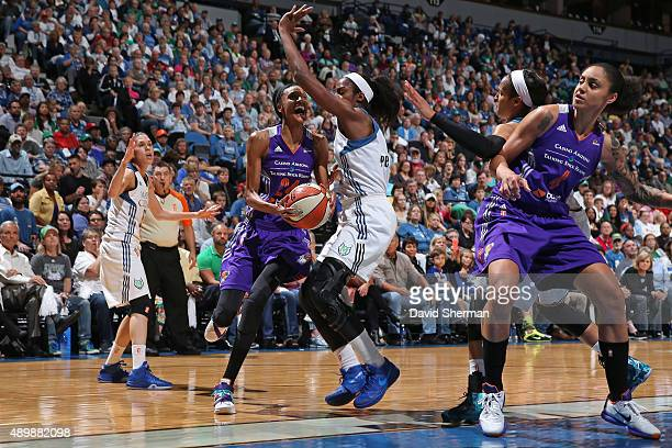 DeWanna Bonner of the Phoenix Mercury drives to the basket against the Minnesota Lynx during Game One of the WNBA Western Conference Finals on...