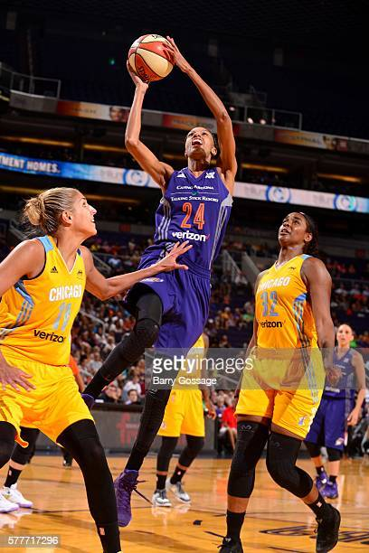 DeWanna Bonner of the Phoenix Mercury goes for the lay up during the game against the Chicago Sky during a WNBA game on July 19 2016 at US Airways...