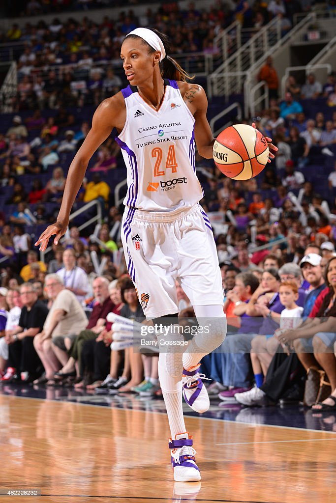 <a gi-track='captionPersonalityLinkClicked' href=/galleries/search?phrase=DeWanna+Bonner&family=editorial&specificpeople=4085058 ng-click='$event.stopPropagation()'>DeWanna Bonner</a> #24 of the Phoenix Mercury handles the ball against the Chicago Sky on July 28, 2015 at Talking Stick Resort Arena in Phoenix, Arizona.