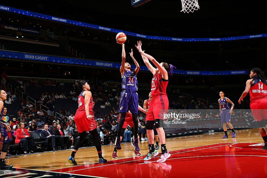 <a gi-track='captionPersonalityLinkClicked' href=/galleries/search?phrase=DeWanna+Bonner&family=editorial&specificpeople=4085058 ng-click='$event.stopPropagation()'>DeWanna Bonner</a> #24 of the Phoenix Mercury shoots the ball during the game against the Washington Mystics during a WNBA game on June 24, 2016 at Verizon Center in Washington, DC.
