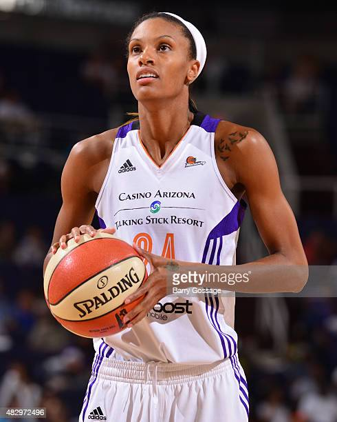 DeWanna Bonner of the Phoenix Mercury takes a free throw against the Tulsa Shock on August 4 2015 at Talking Stick Resort Arena in Phoenix Arizona...
