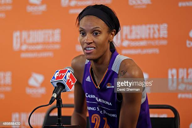 DeWanna Bonner of the Phoenix Mercury talks to the media after Game One of the WNBA Western Conference Finals against the Minnesota Lynx on September...