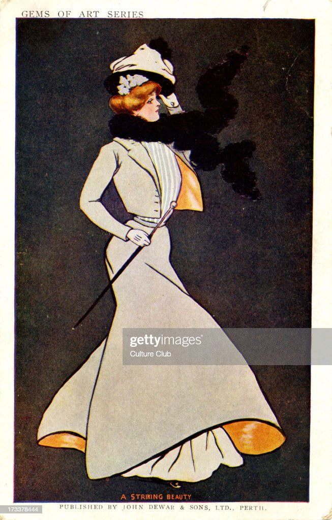 Dewar 's Whisky 'A Striking Beauty' Shows a woman in 1900s dress walking in the wind Caption on back reads 'Drink your toasts heartily as if you...