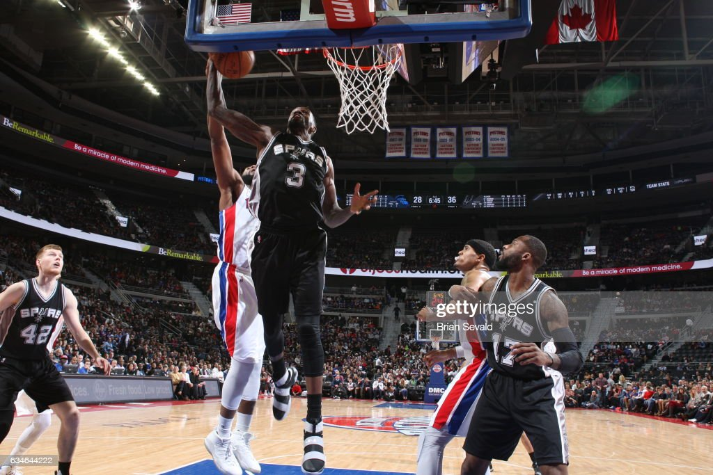 Dewayne Dedmon #3 of the San Antonio Spurs shoots the ball against the Detroit Pistons on February 10, 2017 at The Palace of Auburn Hills in Auburn Hills, Michigan.