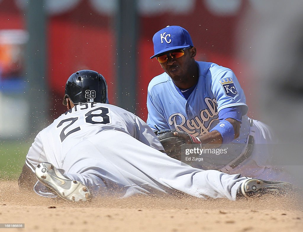 <a gi-track='captionPersonalityLinkClicked' href=/galleries/search?phrase=Dewayne+Wise&family=editorial&specificpeople=704740 ng-click='$event.stopPropagation()'>Dewayne Wise</a> #28 of the Chicago White Sox is tagged out at second by <a gi-track='captionPersonalityLinkClicked' href=/galleries/search?phrase=Alcides+Escobar&family=editorial&specificpeople=4845889 ng-click='$event.stopPropagation()'>Alcides Escobar</a> #2 of the Kansas City Royals as he tries to stretch a single in the 10th inning at Kauffman Stadium on May 6, 2013 in Kansas City, Missouri.