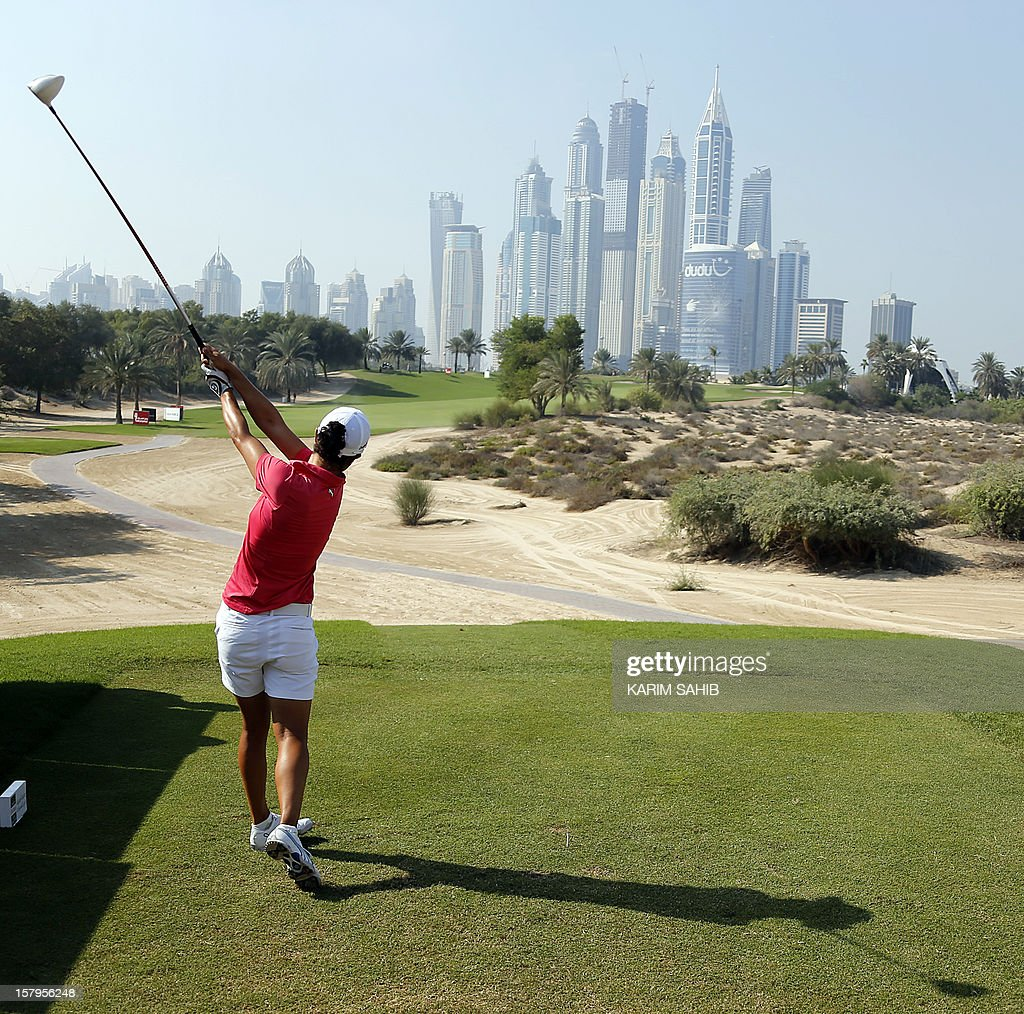 Dewi Claire Schreefel of The Netherlands plays a shot during the final round of the 2012 Dubai Ladies Masters Golf on December 8, 2012 in the Gulf emirate of Dubai.