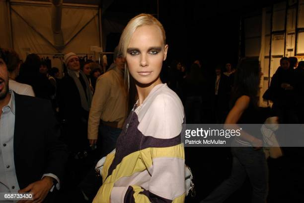 Dewi Driegen in beauty at the Luca Luca Fashion Show at The Tent Bryant Park on February 8 2004 in New York City