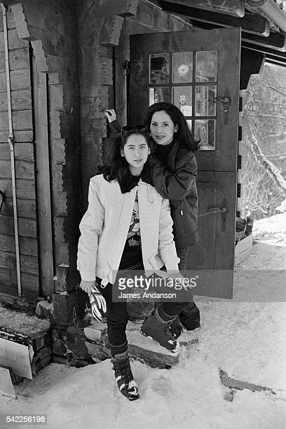 Dewi Sukarno widow of former president of The Republic of Indonesia Achmed Sukarno with their daughter Kartika Sukarno during winter vacation in...