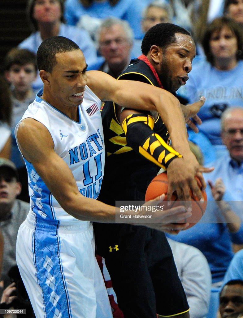 Dex Wells #32 of the Maryland Terrapins tangles with Brice Johnson #11 of the North Carolina Tar Heels as they battle for a rebound during play at the Dean Smith Center on January 19, 2013 in Chapel Hill, North Carolina. North Carolina won 62-52.