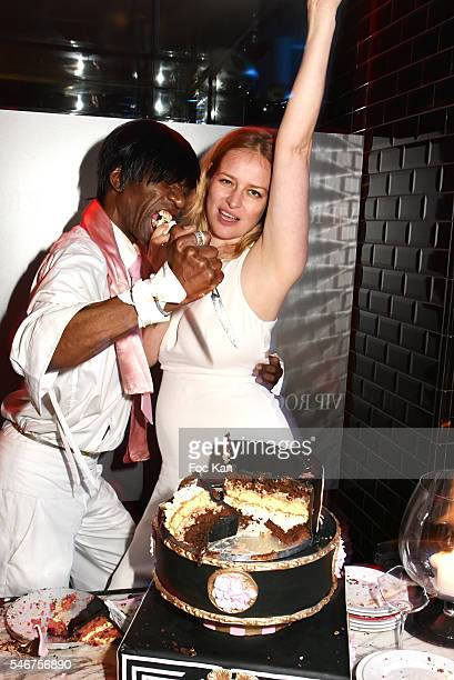 Dexter Dex Tao and former Elite model Simone Muterthies attend the Dexter Dex Tao Birthday Party at the Xu Sushis bar on July 12 2016 in Paris France