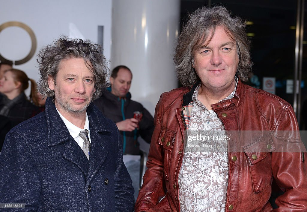 Dexter Fletcher and James May attends the UK premiere of 'Oblivion' at BFI IMAX on April 4, 2013 in London, England.