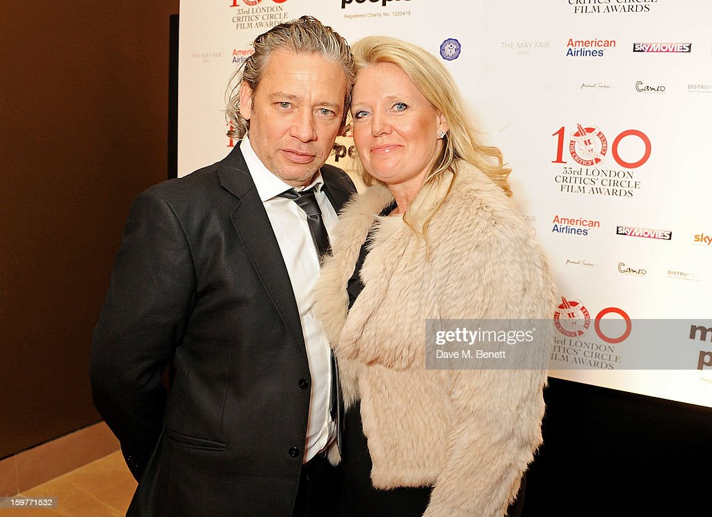 Dexter Fletcher (L) and Sam Tromans arrive at the London Critics Circle Film Awards at the May Fair Hotel on January 20, 2013 in London, England.