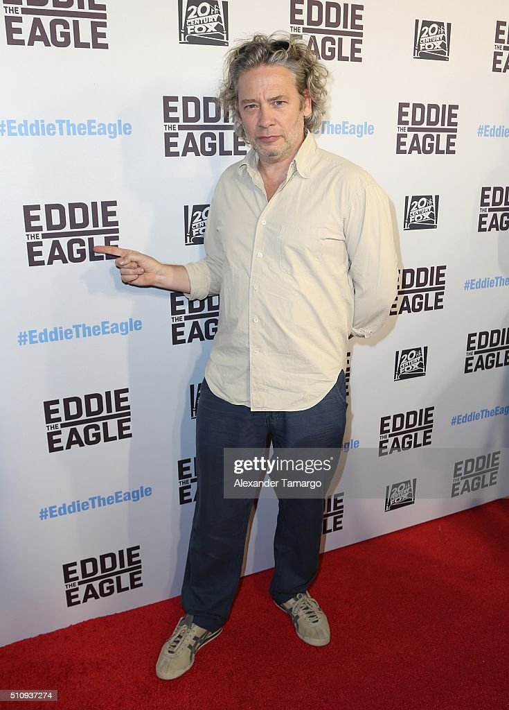 """Hugh Jackman, Taron Egerton and Director Dexter Fletcher in South Beach for Red Carpet Advance Screening of """"Eddie The Eagle"""""""