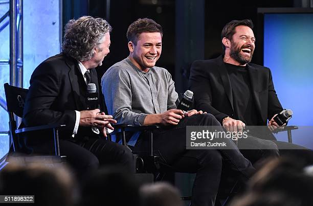 Dexter Fletcher Taron Egerton and Hugh Jackman attend AOL Build to discuss 'Eddie the Eagle' at AOL Studios on February 23 2016 in New York City