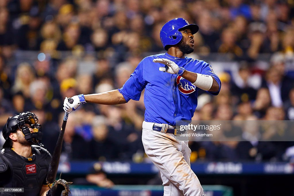 <a gi-track='captionPersonalityLinkClicked' href=/galleries/search?phrase=Dexter+Fowler&family=editorial&specificpeople=4949024 ng-click='$event.stopPropagation()'>Dexter Fowler</a> #24 of the Chicago Cubs hits a solo home run in the fifth inning during the National League Wild Card game against the Pittsburgh Pirates at PNC Park on October 7, 2015 in Pittsburgh, Pennsylvania.