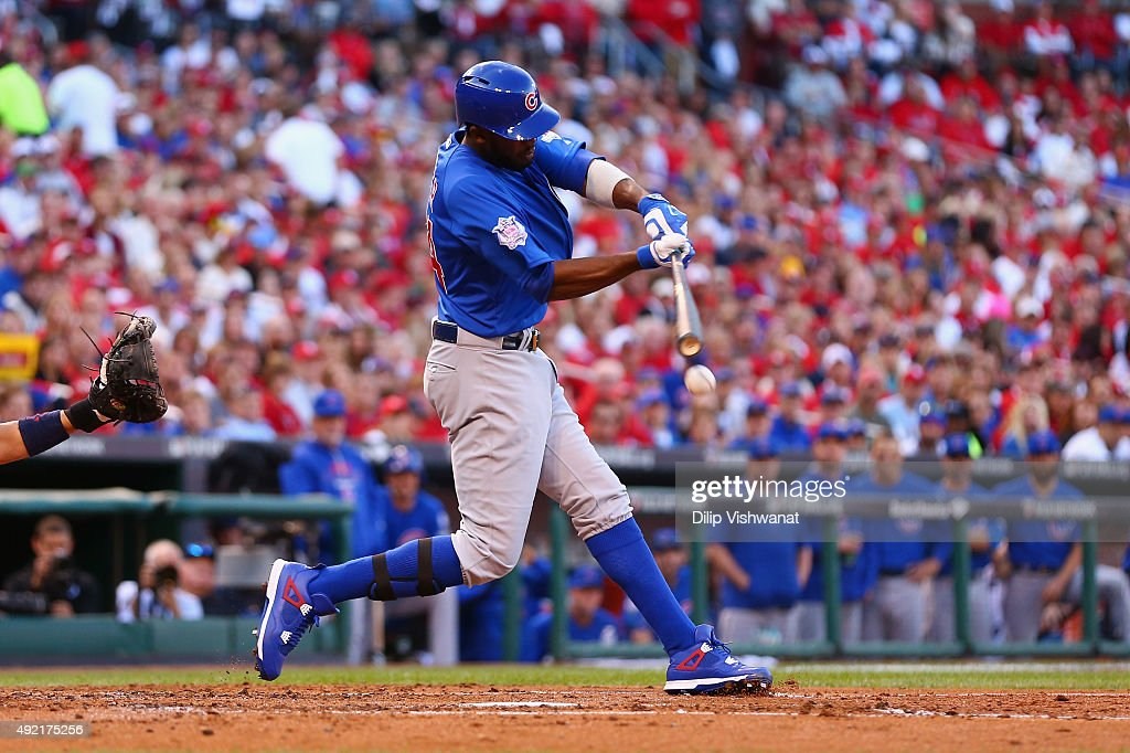 <a gi-track='captionPersonalityLinkClicked' href=/galleries/search?phrase=Dexter+Fowler&family=editorial&specificpeople=4949024 ng-click='$event.stopPropagation()'>Dexter Fowler</a> #24 of the Chicago Cubs hits an RBI single in the second inning against the St. Louis Cardinals during game two of the National League Division Series at Busch Stadium on October 10, 2015 in St Louis, Missouri.