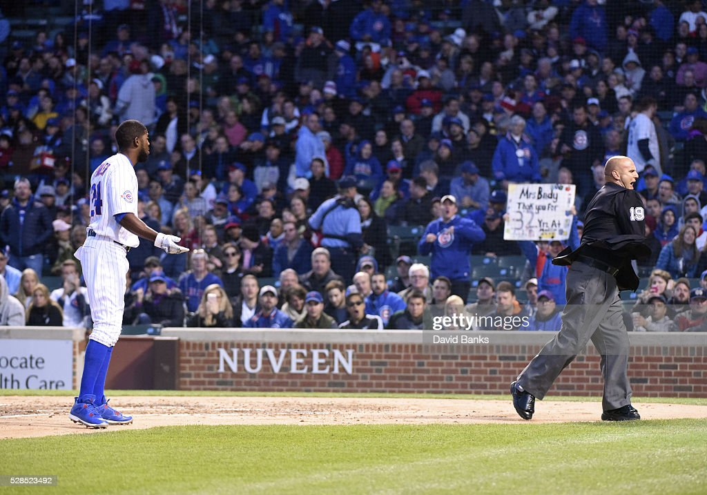 <a gi-track='captionPersonalityLinkClicked' href=/galleries/search?phrase=Dexter+Fowler&family=editorial&specificpeople=4949024 ng-click='$event.stopPropagation()'>Dexter Fowler</a> #24 of the Chicago Cubs is thrown out of the game by umpire Vic Carapazza #19 during the third inning on May 5, 2016 at Wrigley Field in Chicago, Illinois.