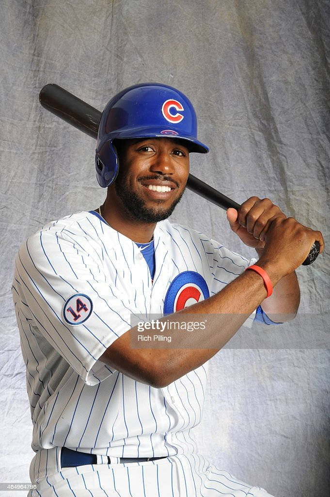 Dexter Fowler #24 of the Chicago Cubs poses for a portrait during Photo Day on March 2, 2015 at Sloan Park in Mesa, Arizona.