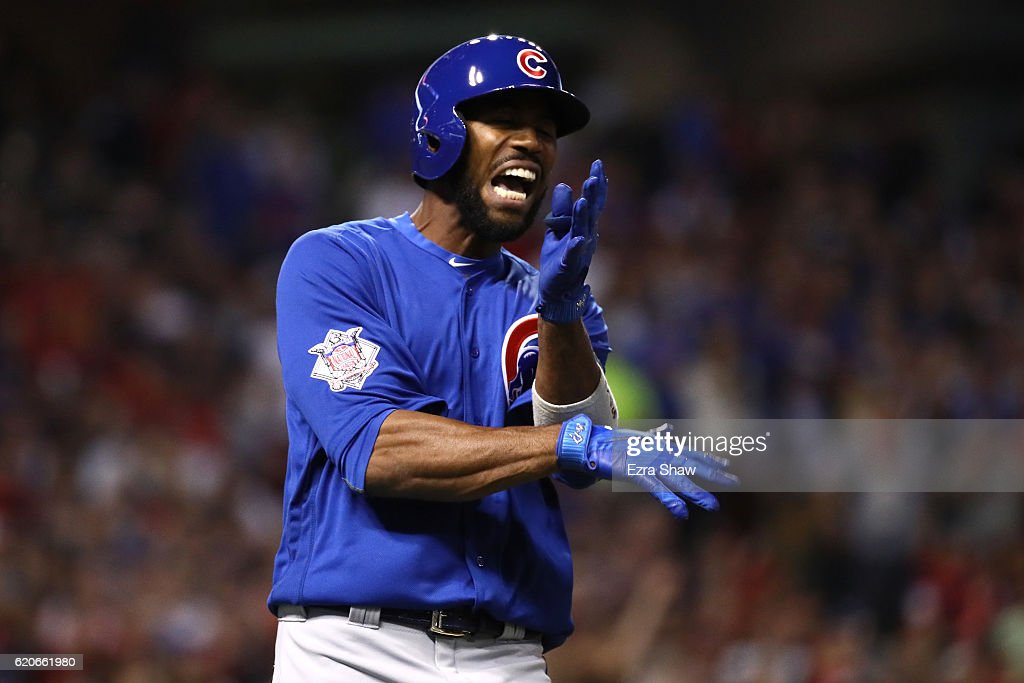 Dexter Fowler #24 of the Chicago Cubs reacts after lining out during the third inning against the Cleveland Indians in Game Seven of the 2016 World Series at Progressive Field on November 2, 2016 in Cleveland, Ohio.