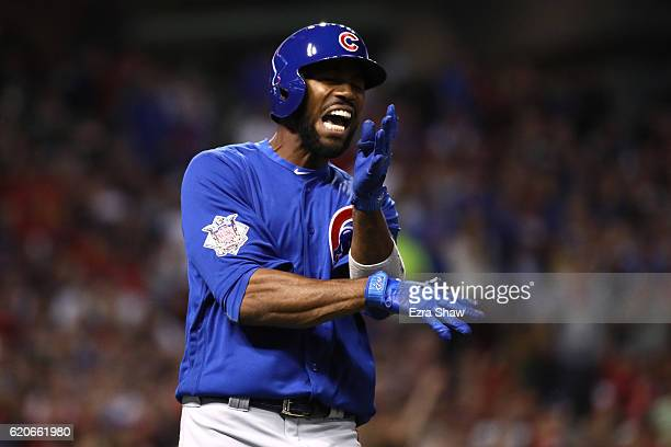 Dexter Fowler of the Chicago Cubs reacts after lining out during the third inning against the Cleveland Indians in Game Seven of the 2016 World...