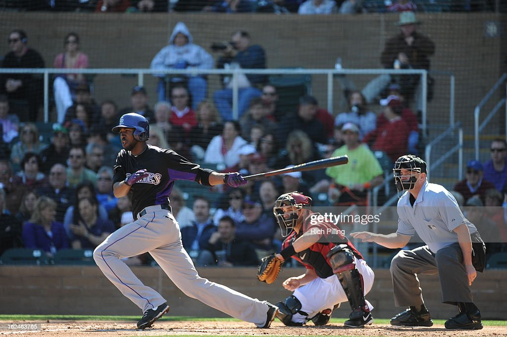 <a gi-track='captionPersonalityLinkClicked' href=/galleries/search?phrase=Dexter+Fowler&family=editorial&specificpeople=4949024 ng-click='$event.stopPropagation()'>Dexter Fowler</a> #24 of the Colorado Rockies bats during the game against the Arizona Diamondbacks on February 23, 2013 at the Salt River Fields at Talking Stick in Scottsdale, Arizona. The Rockies defeated the Diamondbacks 11-2.