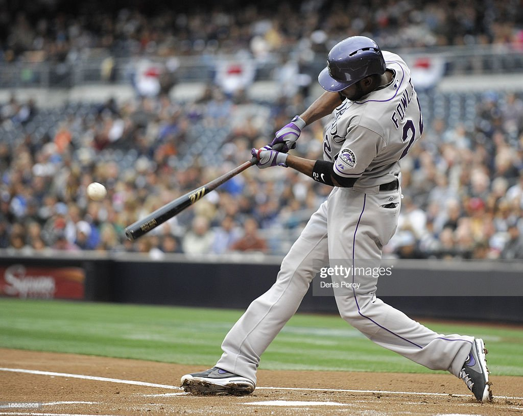 <a gi-track='captionPersonalityLinkClicked' href=/galleries/search?phrase=Dexter+Fowler&family=editorial&specificpeople=4949024 ng-click='$event.stopPropagation()'>Dexter Fowler</a> #24 of the Colorado Rockies hits a single during the first inning of a baseball game against the San Diego Padres at Petco Park on April 13, 2013 in San Diego, California.