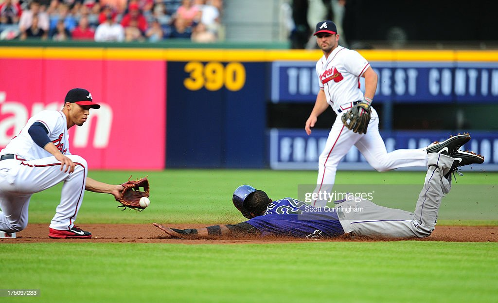 <a gi-track='captionPersonalityLinkClicked' href=/galleries/search?phrase=Dexter+Fowler&family=editorial&specificpeople=4949024 ng-click='$event.stopPropagation()'>Dexter Fowler</a> #24 of the Colorado Rockies is tagged out on a steal attempt by <a gi-track='captionPersonalityLinkClicked' href=/galleries/search?phrase=Dan+Uggla&family=editorial&specificpeople=542208 ng-click='$event.stopPropagation()'>Dan Uggla</a> #26 of the Atlanta Braves at Turner Field on July 31, 2013 in Atlanta, Georgia.