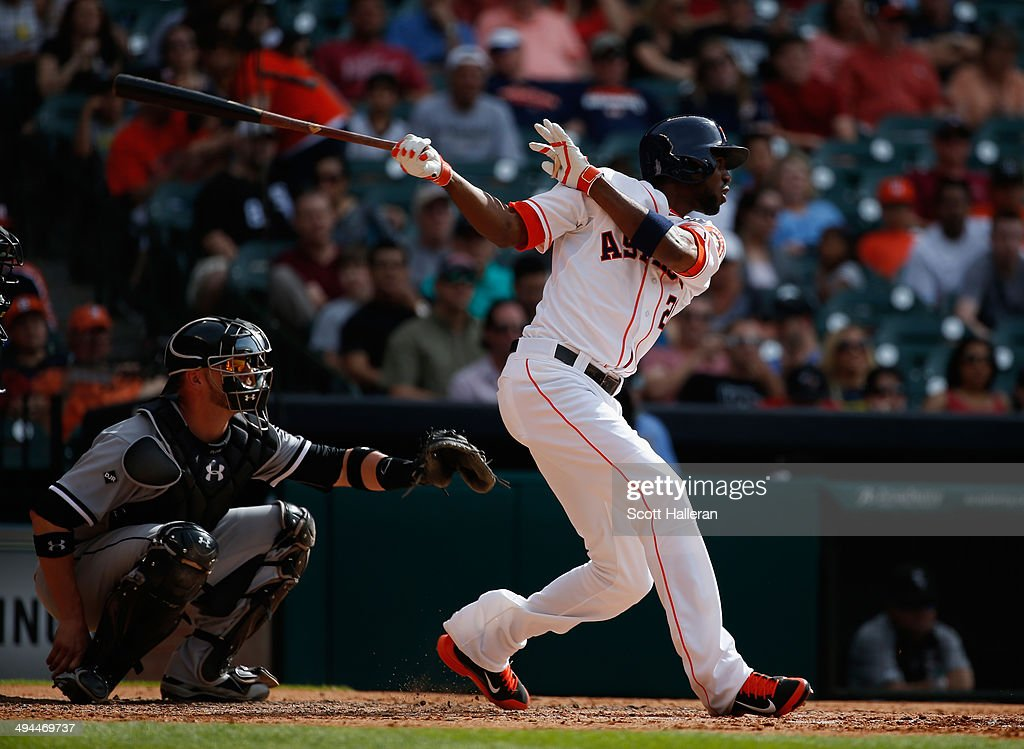 <a gi-track='captionPersonalityLinkClicked' href=/galleries/search?phrase=Dexter+Fowler&family=editorial&specificpeople=4949024 ng-click='$event.stopPropagation()'>Dexter Fowler</a> #21 of the Houston Astros at bat during their game against the Chicago White Sox at Minute Maid Park on May 17, 2014 in Houston, Texas.