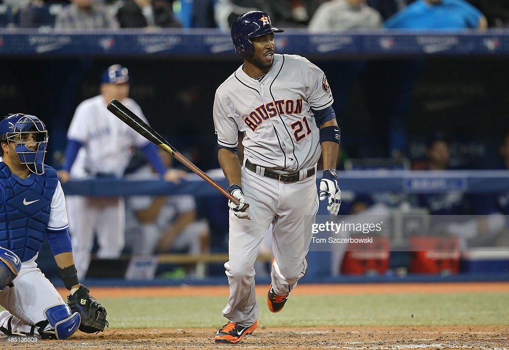 Dexter Fowler #21 of the Houston Astros bats in the eighth inning during MLB game action against the Toronto Blue Jays on April 9, 2014 at Rogers Centre in Toronto, Ontario, Canada.
