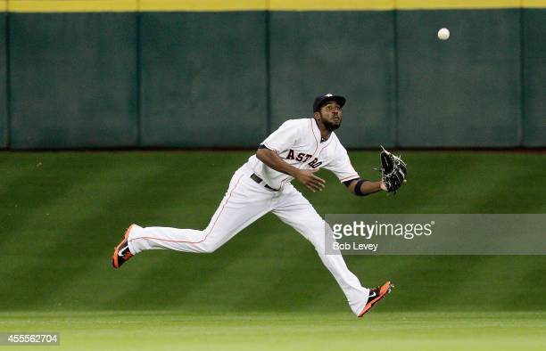 Dexter Fowler of the Houston Astros makes a running catch in the seventh inning against the Cleveland Indians at Minute Maid Park on September 16...