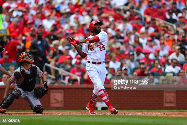Dexter Fowler of the St Louis Cardinals bats against the San Francisco Giants at Busch Stadium on May 21 2017 in St Louis Missouri