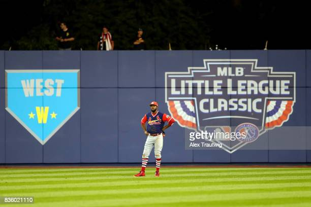 Dexter Fowler of the St Louis Cardinals looks on during the 2017 Little League Classic Game against the Pittsburgh Pirates at Historic Bowman Field...