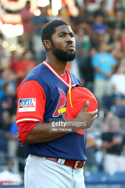 Dexter Fowler of the St Louis Cardinals looks on during the national anthem prior to the 2017 Little League Classic Game against the Pittsburgh...