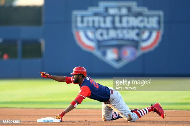 Dexter Fowler of the St Louis Cardinals reacts to be tagged out at second base in the first inning during 2017 Little League Classic Game against the...