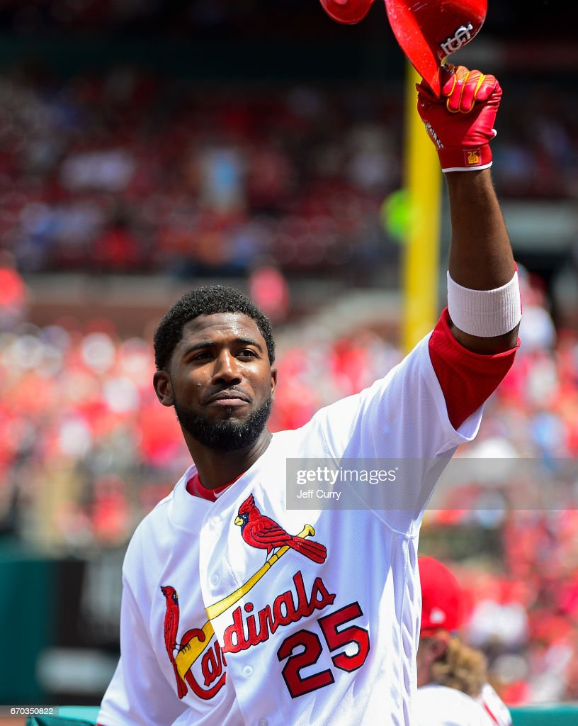 Dexter Fowler #25 of the St. Louis Cardinals receives a curtain call from the fans after hitting his second home run of the game during the fifth inning against the Pittsburgh Pirates at Busch Stadium on April 19, 2017 in St Louis, Missouri.