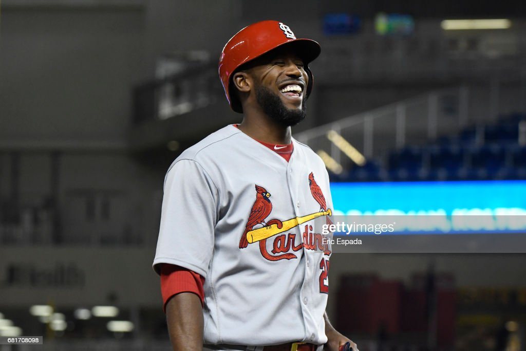 Dexter Fowler #25 of the St. Louis Cardinals smiles after hitting an RBI triple in the sixth inning against the St. Louis Cardinals at Marlins Park on May 10, 2017 in Miami, Florida.