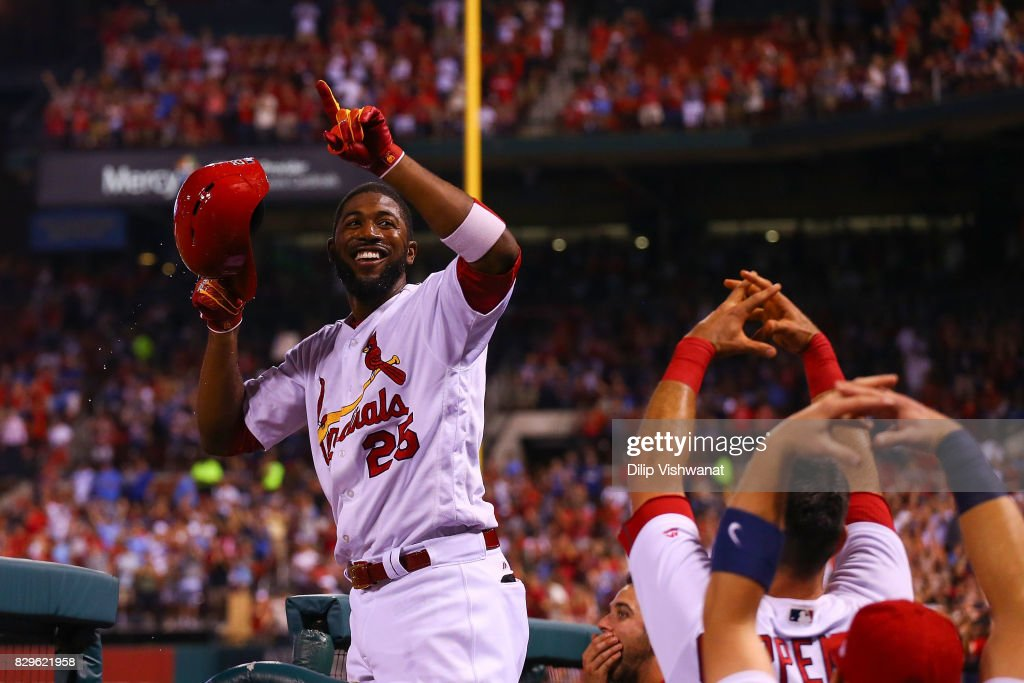 LOUIS, MO   AUGUST 10: Dexter Fowler #25 Of The St. Louis Cardinals Takes A Curtain  Call After Hitting A Grand Slam Against The Kansas City Royals In The ...