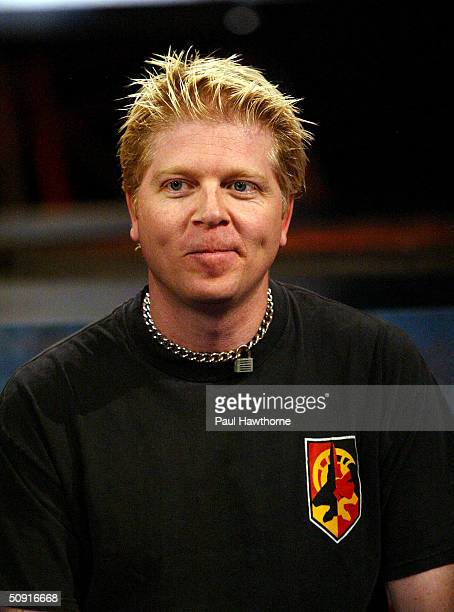 Dexter Holland of The Offspring appears live on Fuse TV's IMX studio June 1 2004 in New York City