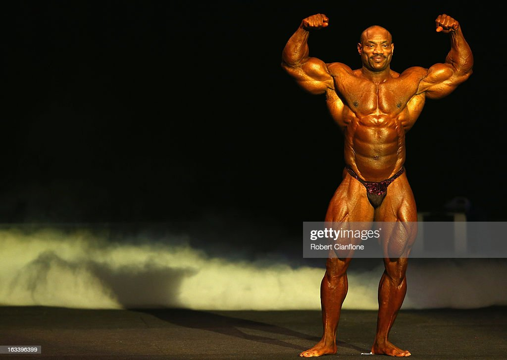 <a gi-track='captionPersonalityLinkClicked' href=/galleries/search?phrase=Dexter+Jackson+-+Bodybuilder&family=editorial&specificpeople=14164935 ng-click='$event.stopPropagation()'>Dexter Jackson</a> of the USA poses during the IFBB Australia Pro Grand Prix XIII at The Plenary on March 9, 2013 in Melbourne, Australia.