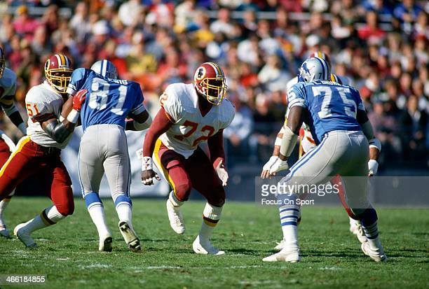 Dexter Manley of the Washington Redskins rushes up against Lomas Brown of the Detroit Lions during an NFL football game November 15 1987 at RFK...