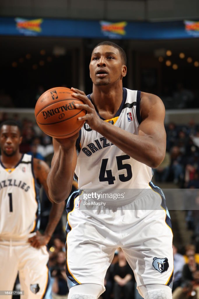 <a gi-track='captionPersonalityLinkClicked' href=/galleries/search?phrase=Dexter+Pittman&family=editorial&specificpeople=4846703 ng-click='$event.stopPropagation()'>Dexter Pittman</a> #45 of the Memphis Grizzlies attempts a foul shot against the Portland Trail Blazers on March 6, 2013 at FedExForum in Memphis, Tennessee.