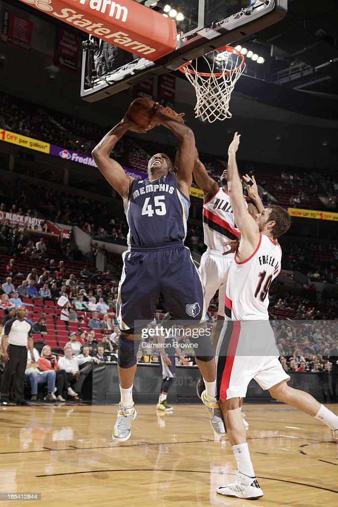 <a gi-track='captionPersonalityLinkClicked' href=/galleries/search?phrase=Dexter+Pittman&family=editorial&specificpeople=4846703 ng-click='$event.stopPropagation()'>Dexter Pittman</a> #45 of the Memphis Grizzlies goes to the basket during the game between the Memphis Grizzlies and the Portland Trail Blazers on April 3, 2013 at the Rose Garden Arena in Portland, Oregon.