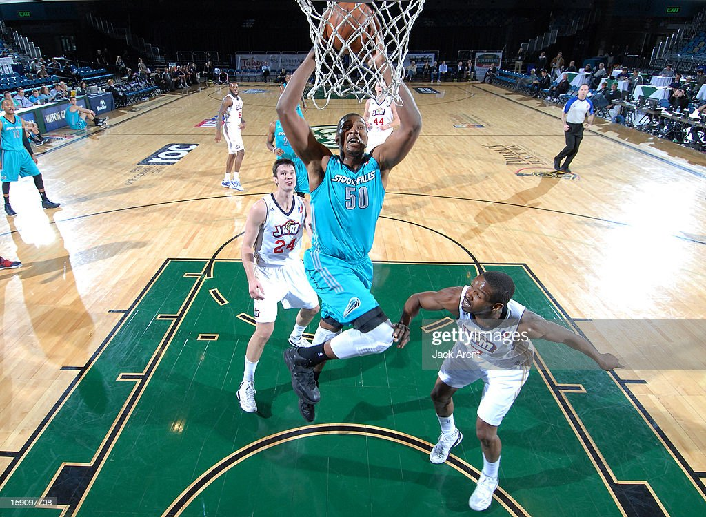 <a gi-track='captionPersonalityLinkClicked' href=/galleries/search?phrase=Dexter+Pittman&family=editorial&specificpeople=4846703 ng-click='$event.stopPropagation()'>Dexter Pittman</a> #50 of the Sioux Falls Skyforce slam dunks the ball while against the Bakersfield Jam during the 2013 NBA D-League Showcase on January 7, 2013 at the Reno Events Center in Reno, Nevada.